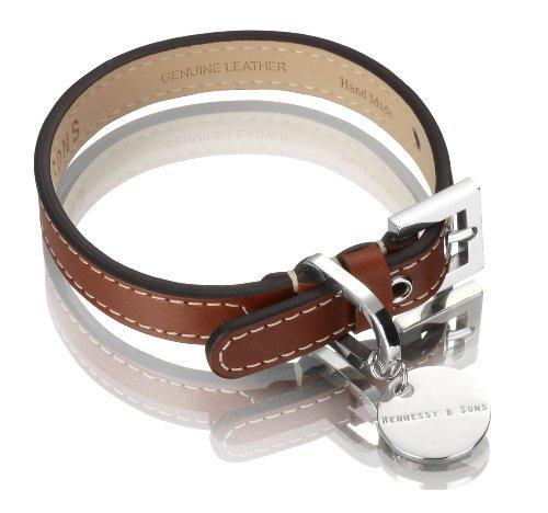 Hennessy & Sons Hand Made Royal British Saddle Leather Dog Collar with White Stitching, 18-25 x 1.4 x 0.3 cm, 50 g, - 1.4 Saddle