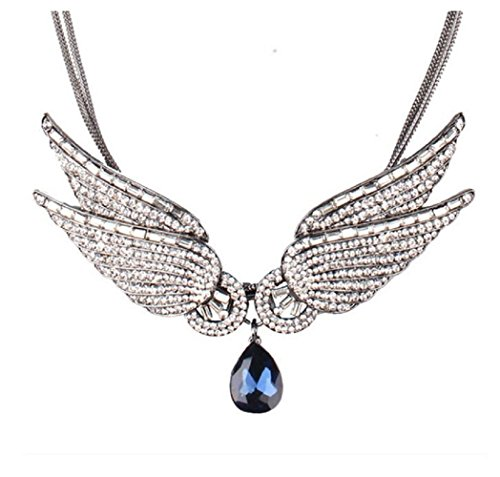 Yuriao Jewelry Luxury Crystal Gemstone Angel Wings Pendant Necklace - Scottsdale Sunglasses