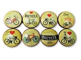 Set of 8 Bicycle Wood Cabinet Knobs