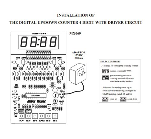 Digital Down Counter Circuit : Digital up down counter digit with driver electronic
