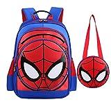 Alipher Waterproof Backpack School Backpack Spiderman Fans Comic School Bag with Mini Shoulder Bag As Gift Blue
