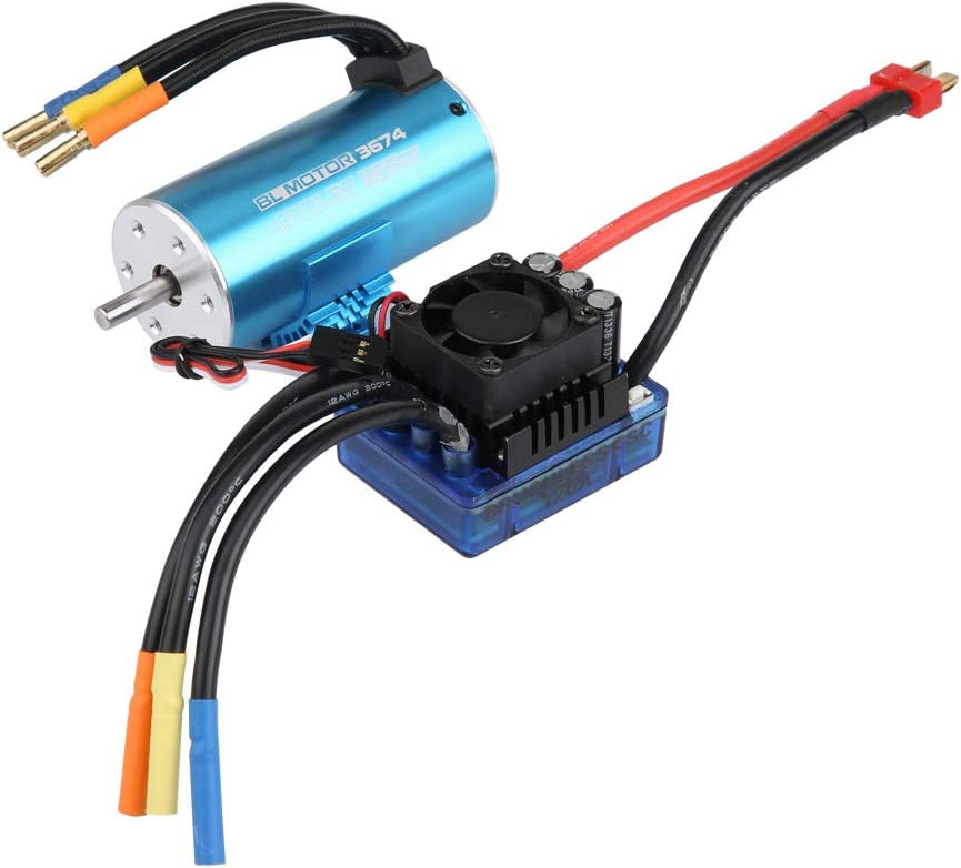 RC Waterproof Motor, 4 Pole 12 Slot 3674 2250/2650KV Brushless Motor for RC Off-Road Car(2650KV Motor + 120A ESC + Heatsink)