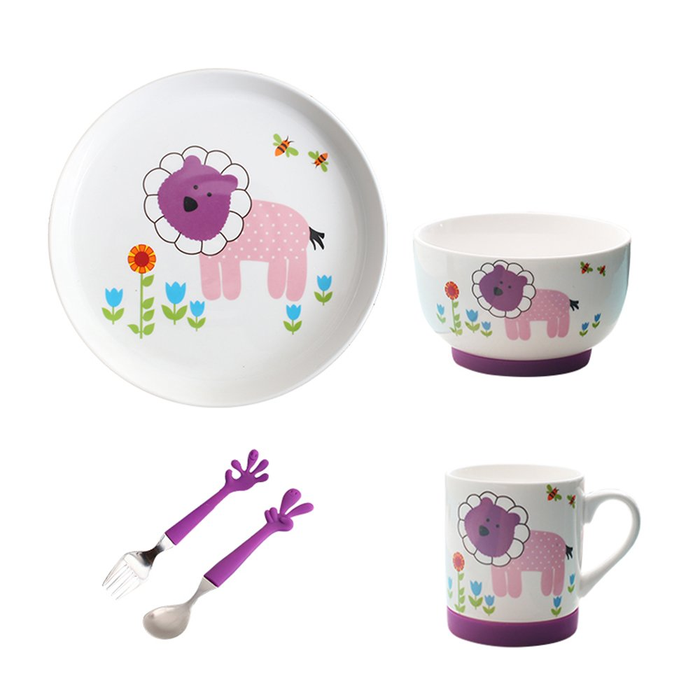 LLZJ Babies Tableware Dishes Sets Bowls Cup Tray Fork Spoon Tip Children's Separate Cutlery Toddler Feeding Training Self-Feeding,Purple