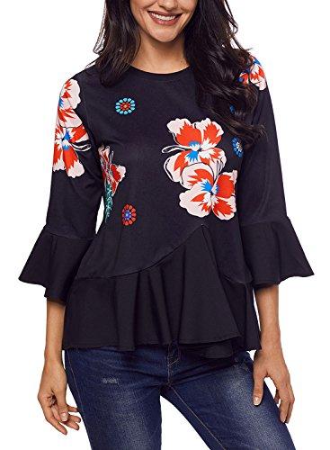 Sidefeel Sleeve Floral Peplum T Shirt