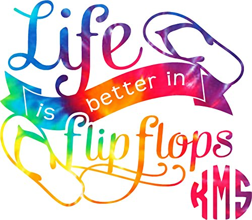 Life is Better in Flip Flops Monogram Tie Dyed Decal sticker ( please leave your initials in the order that you want them in thanks ) - Flip Flop Decals