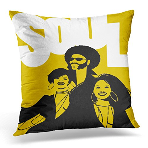 Sdamase Throw Pillow Cover 70S Soul Music Group of Man and Two Girls Retro Style Disco Decorative Pillow Case Home Decor Square 18
