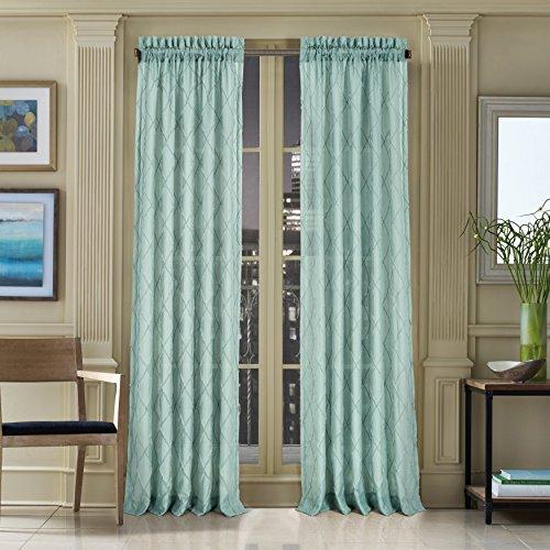 Five Queens Court Grenada Semi Sheer Light Filtering Window Curtain with Rod Pocket, Sea (Grenada One Light)