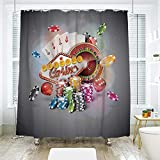 "scocici Simple Creative Bath Curtain Suit Shade Curtain,Poker Tournament Decorations,Welcome to Casino Colorful Chips Cards Dice Roulette Jackpot Decorative,Multicolor,70.8"" x 72"""