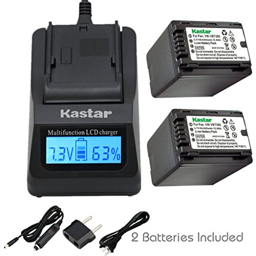 - Kastar Fast Charger + Battery 2X for Panasonic VW-VBT380 VW-VBL090, Pansonic HC-V110 V130 V160 V180 HC-V201 V210 V250 HC-V380 HC-V510 V520 V550 V710 V720 V750 V770 HC-VX870 VX981 HC-W580 W850 WXF991