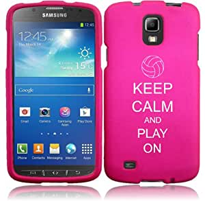 Samsung Galaxy S4 ACTIVE i537 Snap On 2 Piece Rubber Hard Case Cover Keep Calm and Play On Volleyball (Hot Pink)