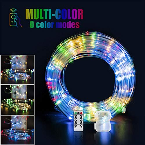 (Ollivage 120 LED Rope Lights With Remote, Color Changing LED Strip Light Battery Powered  Fairy Light 40FT Waterproof String Lights, 8 Modes for Bedroom Kitchen Outdoor Party)