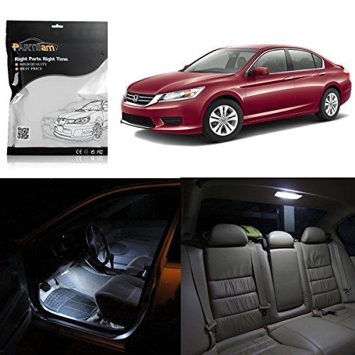 Partsam LED Interior Package Light Kits Compatible with Honda Accord 2013 2014 2015 2016 (6 Pieces/White)