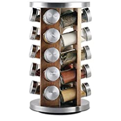 Kitchen Orii Rotating Spice Rack, 8.5 x 8.5 x 14, Light natural wood spice racks