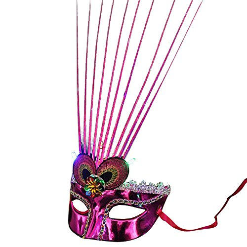 Women Venetian Light up Mask LED Fiber Mask Fancy Masquerade Party Mask Glowing Princess Feather Masks (colorful)