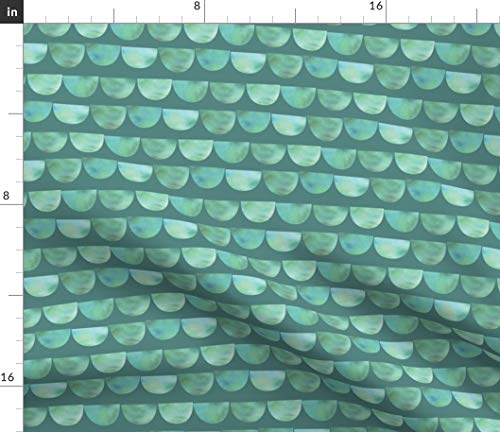 Scales Fabric - Tourmaline Dragon Mermaid Green Opalescent Cosplay Scallops Watercolor Tail Blue Print on Fabric by the Yard - Basketweave Cotton Canvas for Upholstery Home Decor Bottomweight Apparel
