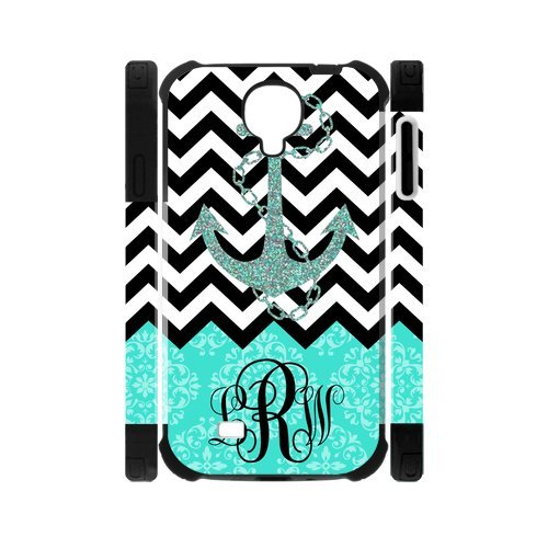 Turquoise European Retro Pattern And Black White Chevron Vs Anchor Unique Custom Samsung Galaxy S4 I9500 Best Durable PVC Two-In-One Cover Case Custom Color and Text,New Fashion, Best Gift (Htc One Mini Vs Htc One Mini 2)