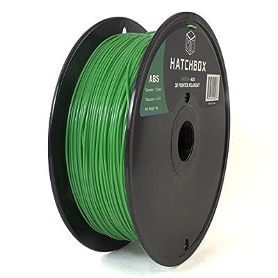 HATCHBOX 3D ABS-1KG1.75-GRN ABS 3D Printer Filament, Dimensional Accuracy +/- 0.05 mm, 1 kg Spool, 1.75 mm, Green