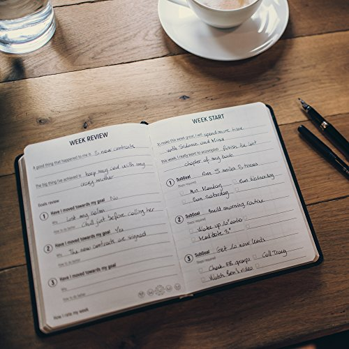 6M Goals Planner - Beautiful Undated Agenda - Daily and Weekly Journal to Achieve Goals and Increase Productivity and Happiness. Black A5 Hardcover. Photo #7