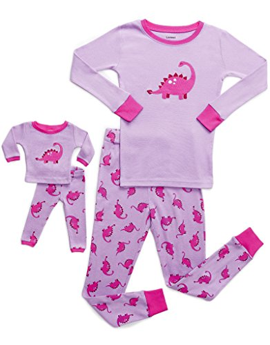 Leveret Kids & Toddler Pajamas Matching Doll & Girls Pajamas 100% Cotton Pjs Set (Size 8 Years, Dinosaur)