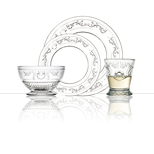 La Rochere GRP270 Versailles 24 Piece Glass Dinner Set, Clear (Clear Sets Dinnerware Glass)
