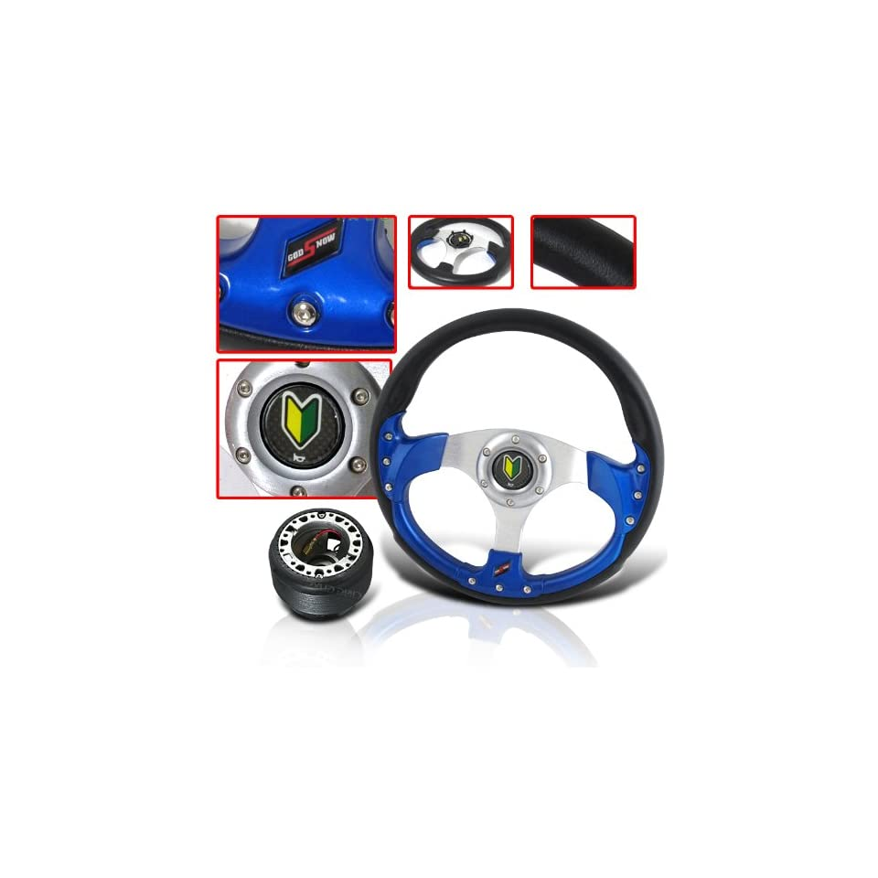 RACING STYLE STEERING WHEEL WITH HORN BADGE AND ADAPTER HUB
