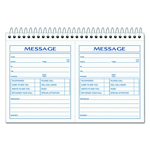 TOPS Phone Message Forms Book, Carbonless Duplicate, 4.25 x 5 Inches, 200 Sets per Book (4007) (Message Forms)