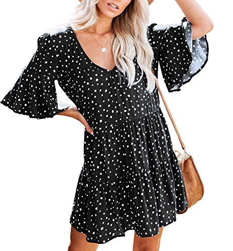 Saikesigirl Womens Polka Dot V Neck Loose Ruffle Flowy Mini Short T-Shirt Dress ()
