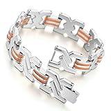 Bags Under Eyes Heart Disease Men's Stainless Steel Rubber Bracelet Link Wrist Elegant Silver Orange