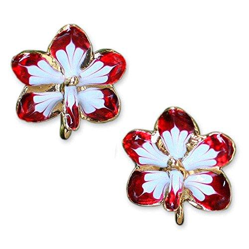 NOVICA 24k Yellow Gold-Plated Handmade Natural Orchid Post Earrings, Timeless Dancer' ()