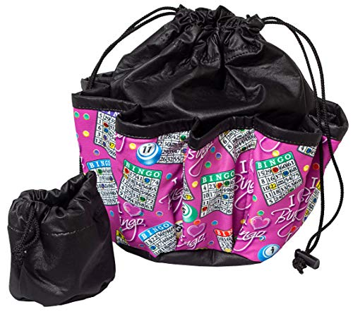 ABS Novelties I Love Bingo Pink Pattern 10 Pocket Tote Black