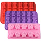 Silicone Baking Mold, Puppy Paw&Bone Shape Food Grade Baking Mold/Ice Tray for Dog Treat,Chocolate, Candy, Jelly,Reusable and BPA Free by Shellvcase (3 Pack)