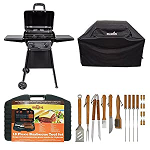 Classic 280 Two Burner Gas Grill With All Season Cover By Char-Broil & Mr. Bar-B-Q's 18-Piece Stainless Steel Barbecue Set with Storage Case, Grill, Barbecue, Outdoor, Weather Resistant, Heavy Duty