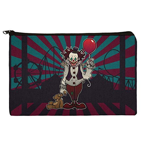 Creepy Clown with it's Balloon Makeup Cosmetic Bag Organizer Pouch