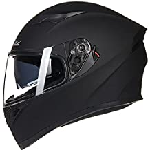 ILM 9 Colors Full Face Dual Visor Motorcycle Helmet DOT (M, MATTE BLACK)
