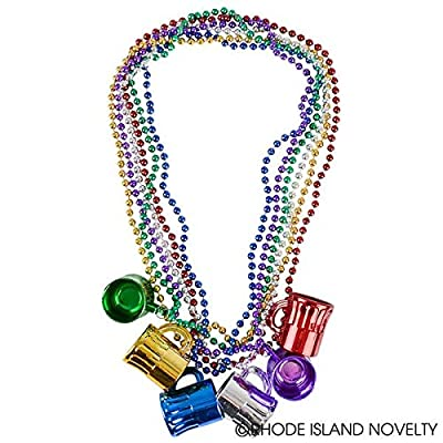 Rhode Island Novelty Mardi Gras Mug Shot Glass Beads | 12 Necklaces |