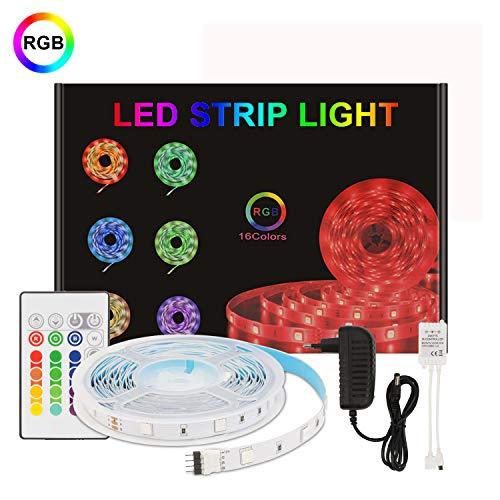 Tira LED,Aourow Tiras LED RGB Flexible de 5m con Control Remoto de 24 Teclas y Adaptador de 12V,LED Strip Multicolor 5050 SMD 150 LEDs con Autoadhesivo para Decoración,No Impermeable