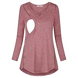 Jazzco Women's Button Side Nursing Tops V Neck Breastfeeding Tunic Tops