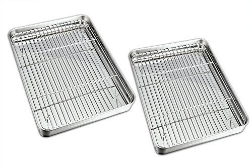 Fits All Stainless Steel Sauce Pan (TeamFar Baking Sheet with Rack Set, Stainless Steel Baking Pan Cookie Sheet with Cooling Rack, Non Toxic & Healthy, Easy Clean & Dishwasher Safe - 4 Pack (2 Pans + 2 Racks))