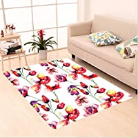 Nalahome Custom carpet ons Pastel Colored Blooming Grungy Uneven Tulip And Poppy Flower Patterns Nature Theme Red White area rugs for Living Dining Room Bedroom Hallway Office Carpet (5 X 7)