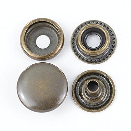 GETMORE Parts Bottoni a pressione/automatici molla anulare, acciaio, 100 pezzi - nero, 15 mm