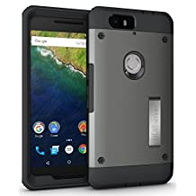 Nexus 6P Case - TUDIA Ultra Tough OMNIX [Heavy Duty] Hybrid Full-body Protective Case with Front Cover and Built-in Screen Protector / Impact Resistant Bumpers Cover for Google Nexus 6P (Metallic Slate)