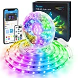 Govee LED Strip 32.8ft Bluetooth, App Control, Remote, Control Box LED Music Lights, 7 Scenes Mode Multicolor LED Light Strips for Bedroom, Room, Kitchen, Party, 2x16.4ft