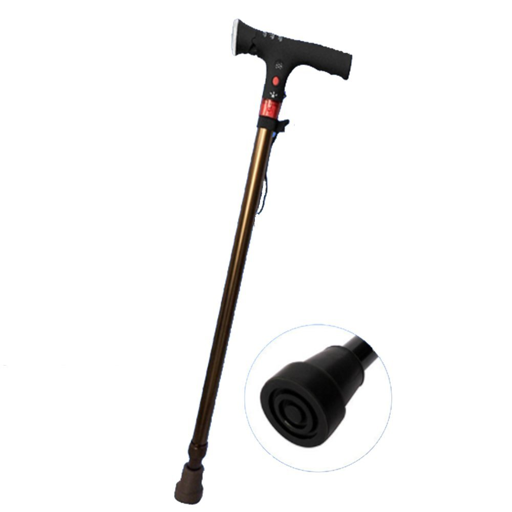 Multi-Function One-Foot Walking Stick Retractable Intelligent Electronic Lightweight Crutches for Elderly Telescopic Cane with LED Light and Alarm Walking Aid for Father's Day Gift-BML802(Bronze)