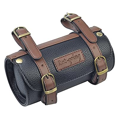 Comfortable Soft Vintage Bicycle Saddle or Handlebar Tools Cylindrical Bag, Length 175mm Diameter 95mm