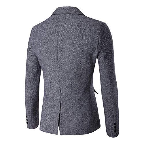 Slim Ropa Formal One Cotton Fit Grey Saoye Smart Blazer Herringbone Dinner Button Men's Coat Mens Fashion Jacket qv7w7H