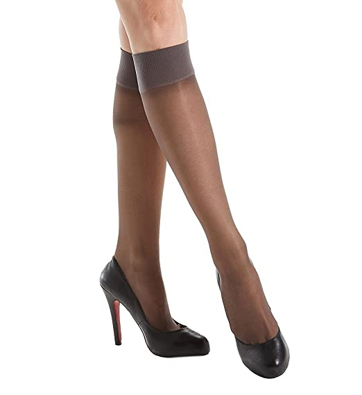 4ec391e7bfe7b Hanes Womens Alive Full Support Sheer Knee Highs (0A446) -BARELY BLA -One  Size at Amazon Women's Clothing store: