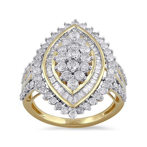 Ladies Ring 10kt Gold Jewelry - Jewelili 10kt Yellow Gold 2cttw Baguette