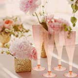 Homy Feel Gold Glitter Plastic Pink Wine Glasses 30
