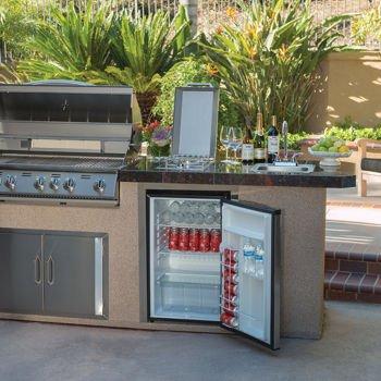 Urban Islands Refrigerator Stainless Steel 4.5 Cu Ft Capacity Reversible Door for Left or Right Hand Opening Outdoor Refrigerator