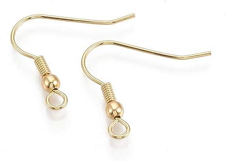 100 x Silver Plated Ear Wire Fish Hook Earring Hooks Bead /& Spring 19mm Findings